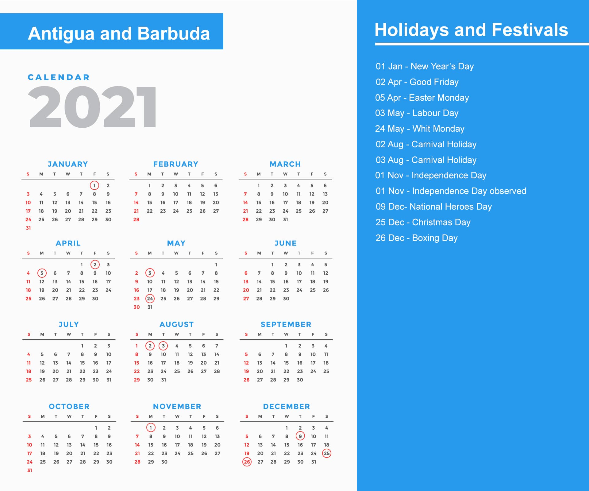 Antigua and Barbuda Holidays Calendar 2021