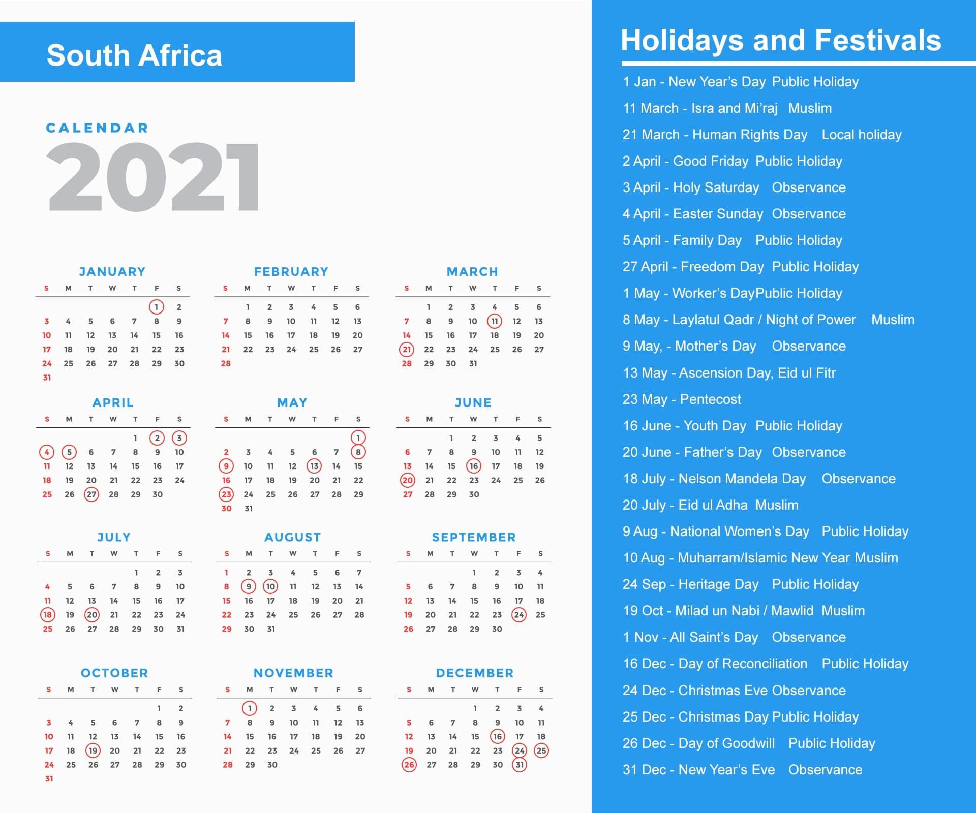 South Africa Holidays Calendar 2021