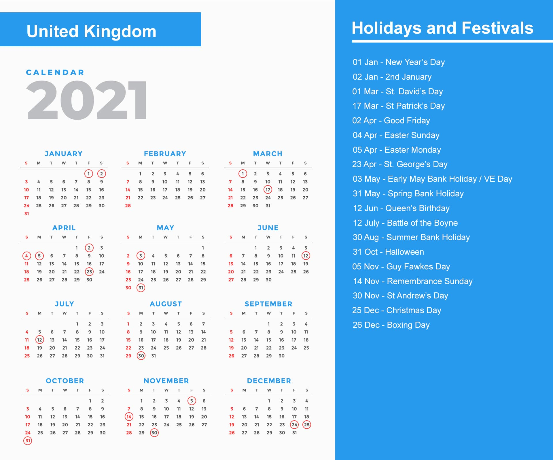 United Kingdom Holidays Calendar 2021
