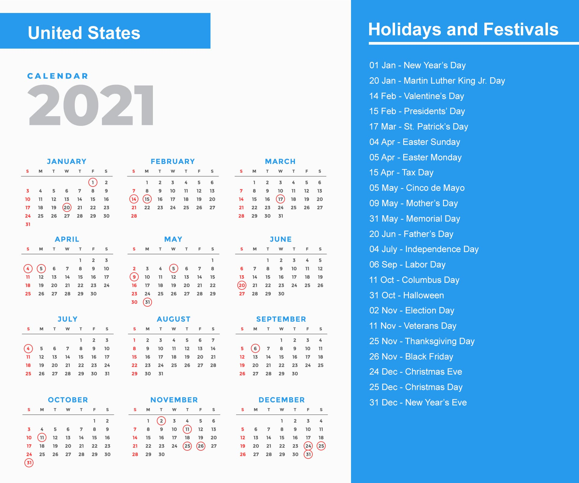 United States Holidays 2021 and Observances 2021