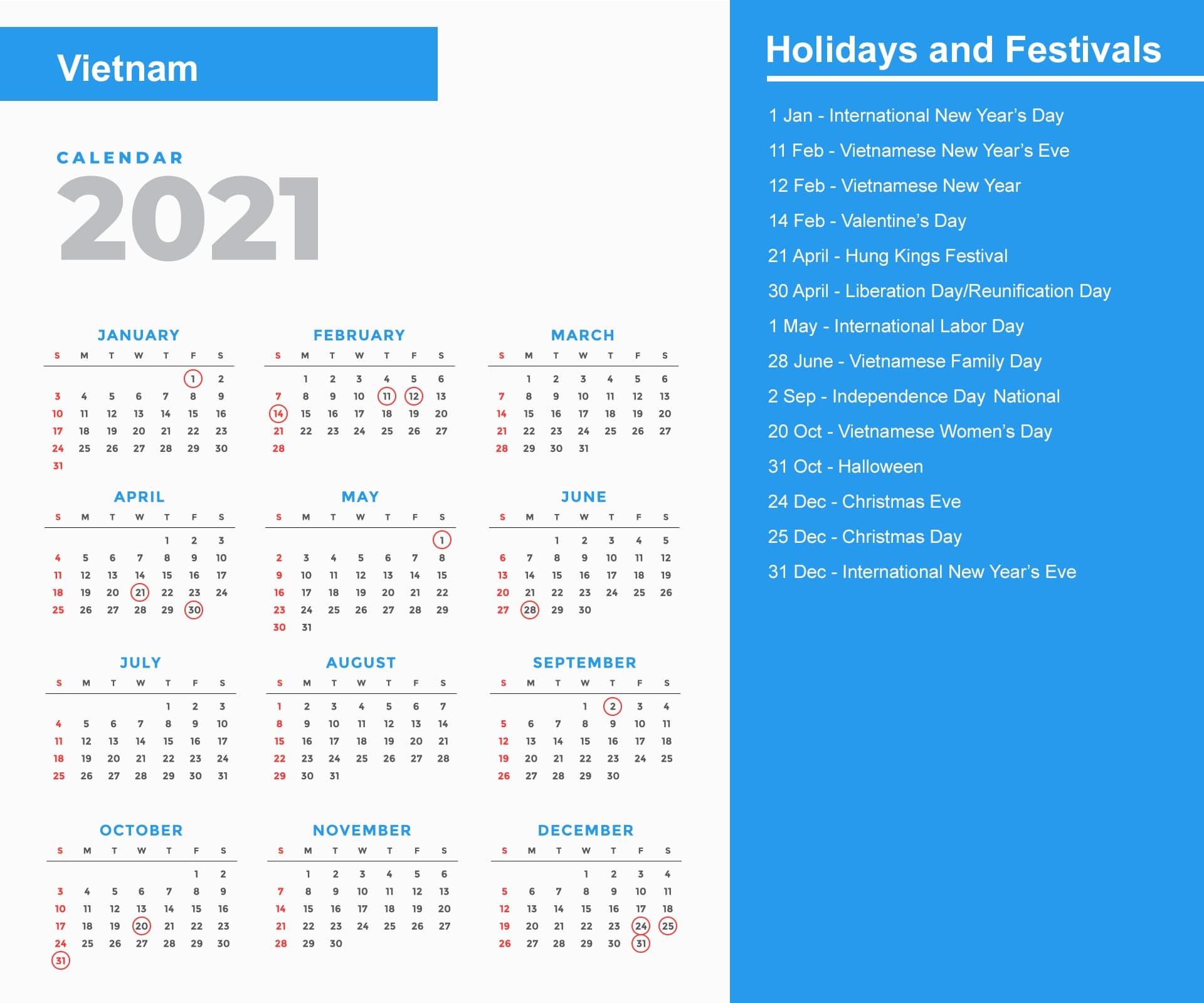 Vietnam Calendar 2021
